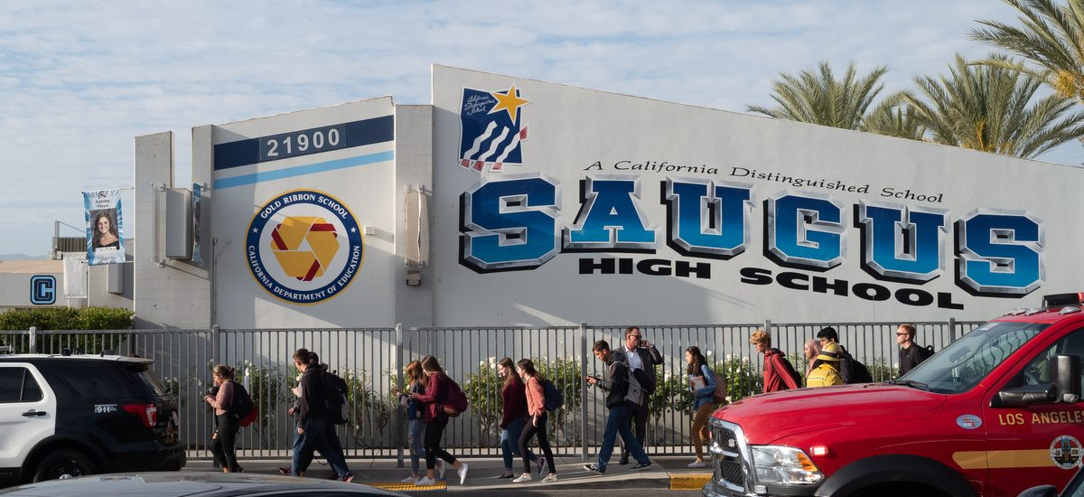 Students are led out of Saugus high after a shooting occurred at the School in Santa Clarita, CA Thursday, November 14, 2019. (Photo by David Crane, Los Angeles Daily News/SCNG)